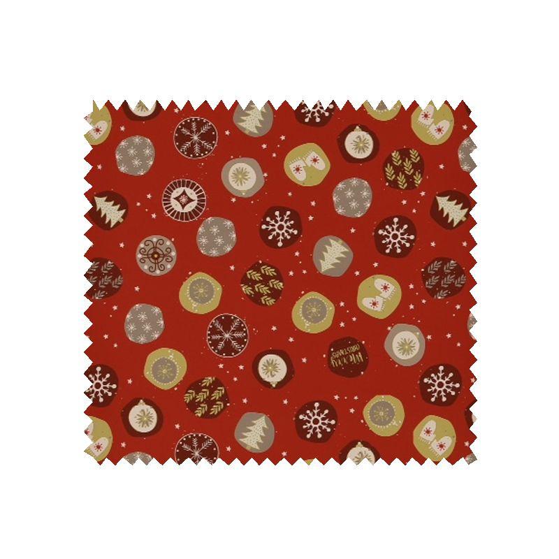 Tissu coton de no l imprim fond rouge tissus des ursules - Tissu de noel ...