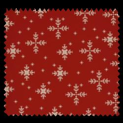 Tissu Coton de Noël imprimé Etoile Fond Rouge