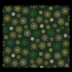 Tissu Coton de Noël Imprimé Flocon Fond Vert