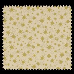 Tissu Coton de Noël Imprimé Etoile Doré