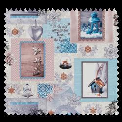 Tissu Cretonne Winter Bleu