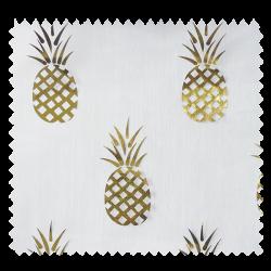 Tissu Organza Ananas Or Fond Blanc