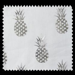 Tissu Organza Ananas Argent Fond Blanc