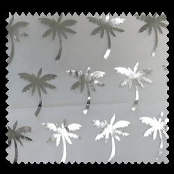 Tissu Organza Palmier Argent Fond Blanc