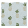 Tissu Imprimé Ananas Fond Uni Vert