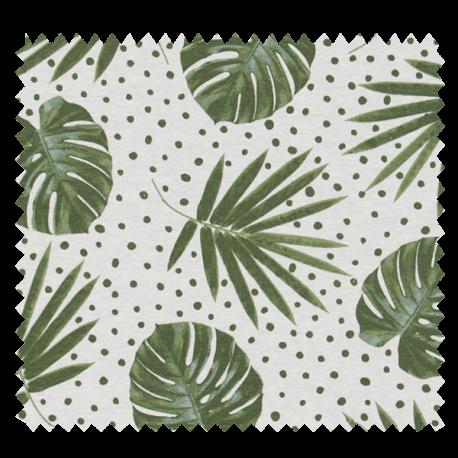 Tissu Imprimé Feuille Fond Blanc