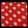 Tissu Satin Carnaval Pois Blanc Fond rouge