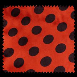 Tissu Satin Carnaval Pois Rouge Fond Noir