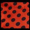 Tissu Satin Carnaval Pois Noir Fond Rouge