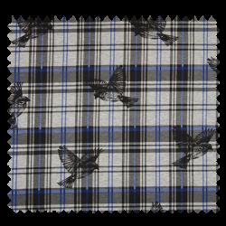 Tissu Carreaux Oiseaux Bleu