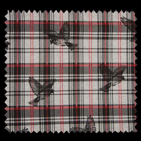 tissu carreaux oiseaux rouge tissus des ursules. Black Bedroom Furniture Sets. Home Design Ideas