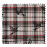 Tissu Carreaux Oiseaux Rouge