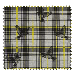 Tissu Carreaux Oiseaux Jaune