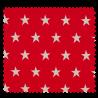 Tissu Coton Popeline Grosse Etoile Rouge
