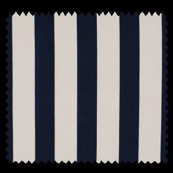 Tissu Coton Popeline Grosse Rayure Marine