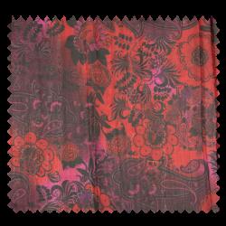 Tissu Fleurs Froissé Rouge