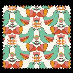 Tissu Cretonne Birdy Ivoire et Vert