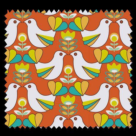 Tissu Cretonne Birdy Orange