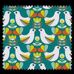 Tissu Cretonne Birdy Canard