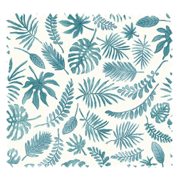 Tissu Cretonne Mini Feuilles Bleu
