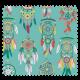 Tissu Cretonne Mini Attrape Reves Turquoise