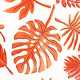 Tissu Cretonne Mini Feuilles Orange