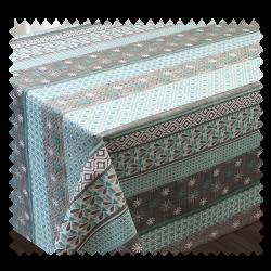 Tissu Toile Cirée Textile Chemin Imprimé Turquoise