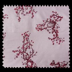 "Tissu Popeline ""Asia"" Branche de Cerisier Rouge"