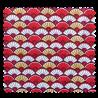 "Tissu Popeline ""Asia"" Eventail Rouge"