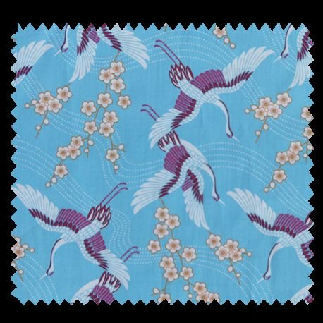 "Tissu Popeline ""Asia"" Motif Grue Bleu"