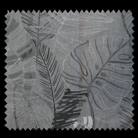 Tissu voilage Imprimé Cascais Jungle Fond Gris