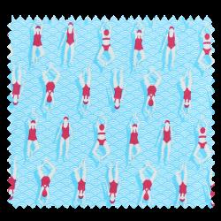 Tissu Cretonne Swimming Pool Bleu Rouge